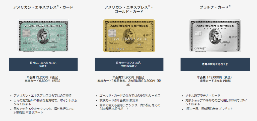 American Express(アメリカン・エキスプレス)「カード券種」