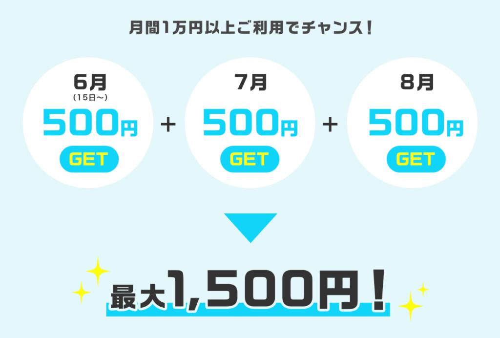 毎月10人に1人500円キャッシュバック!Visaデビットキャンペーンは、最大1500円!