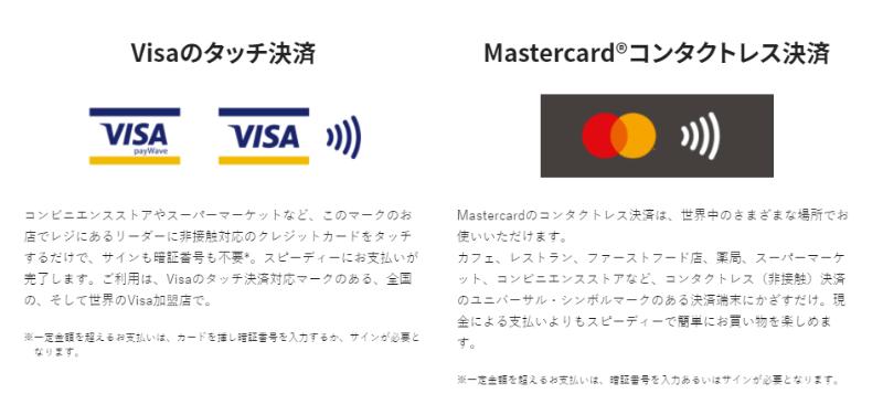 三井住友カードナンバーレスの特徴(タッチ決済)