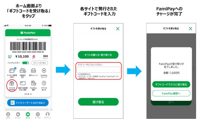 FamiPayギフトをファミペイアプリへチャージする手順