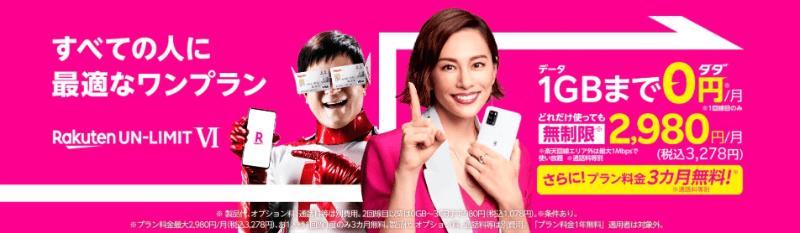 楽天モバイル3カ月無料キャンペーン