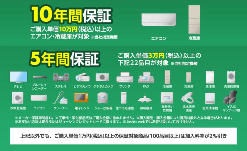 購入単価3万円(税込)以上は5年間、10万円(税込)以上のエアコン、冷蔵庫は10年間保証
