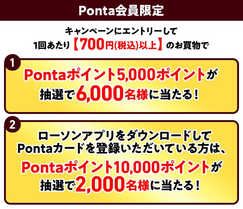 抽選で5,000~10,000Pontaポイントが当たる